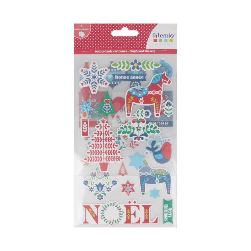33 stickers de Noël cartonnés