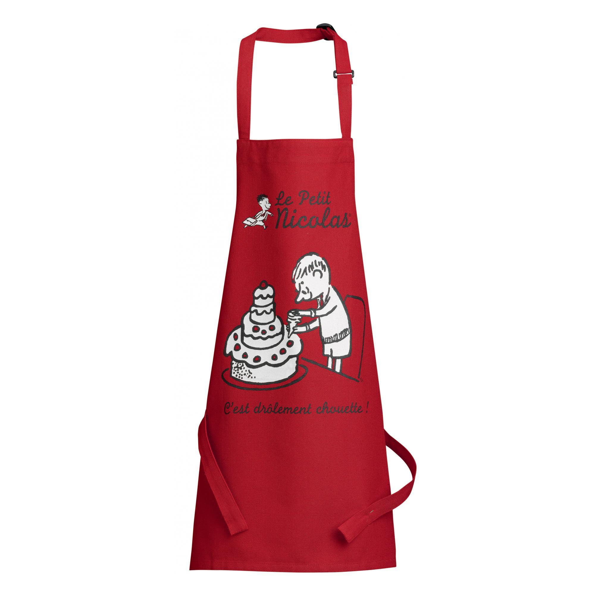 Tablier de cuisine enfant Le petit Nicolas Pièce monté rouge 52 x 63