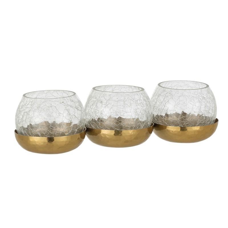 Photophore 3 boules verre/acier inoxydable or