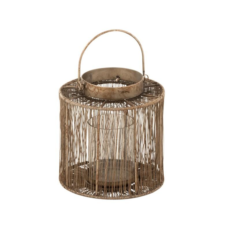 Lanterne métal marron H17,5cm