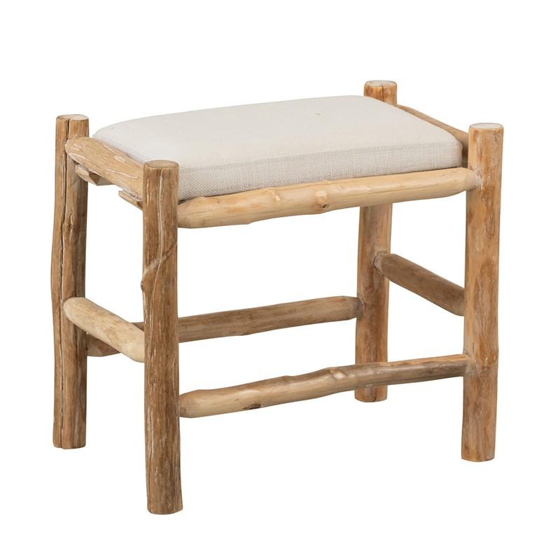 Tabouret en bois naturel/blanc et coussin