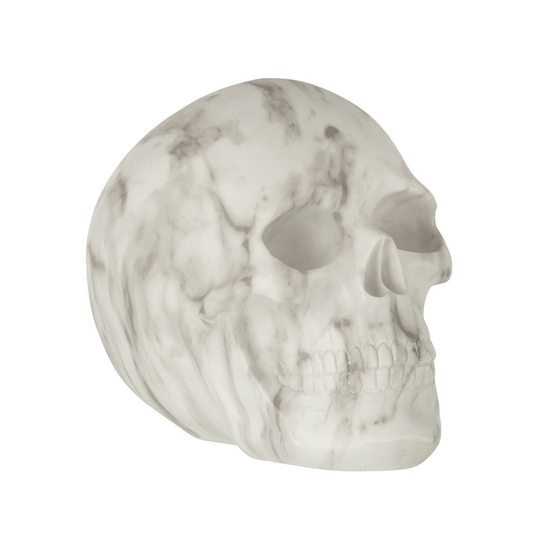 Crâne marbre résine blanc/gris H20cm