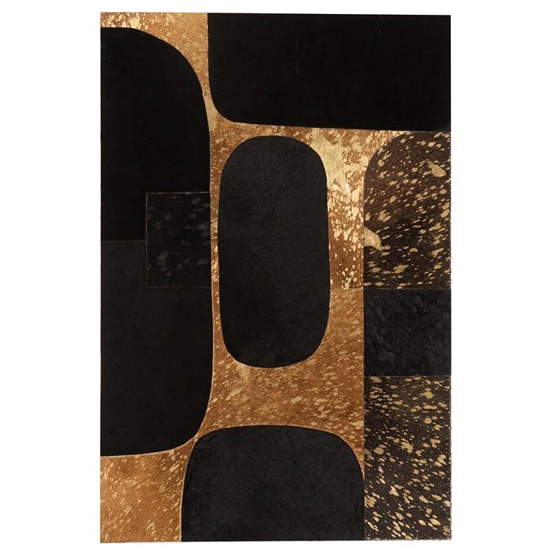 Cadre rectangulaire cuir noir/or 60x90cm