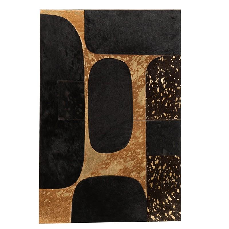 Cadre rectangulaire cuir noir/or 40x60cm