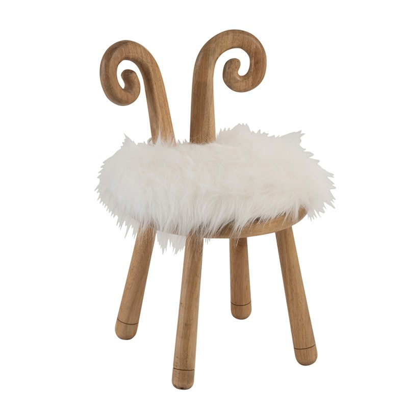 Chaise oreille mouton bois naturel