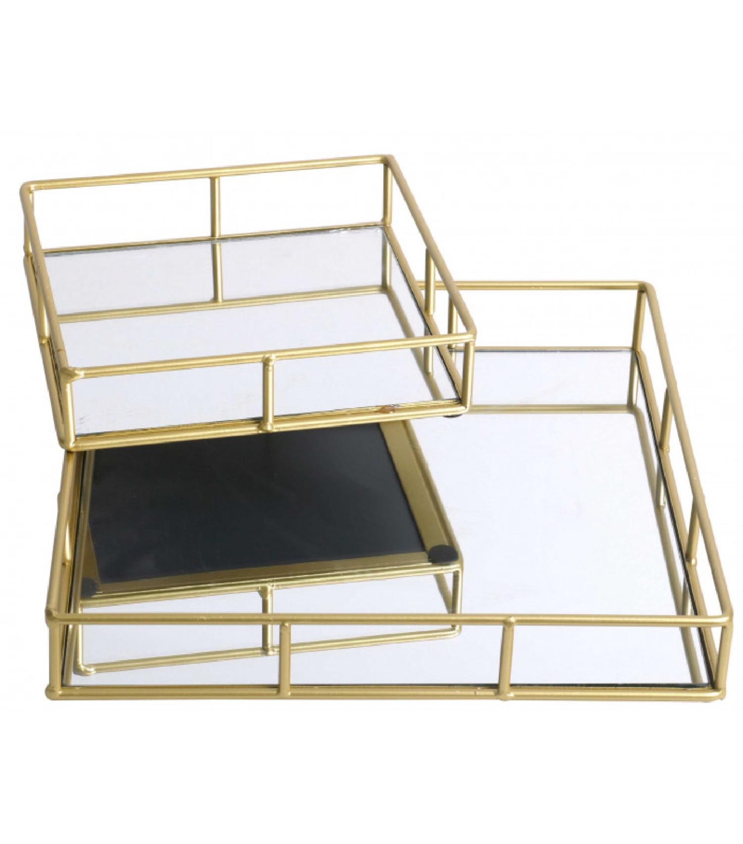 Set de 2 plateaux en métal doré et miroir carrés 30x30x5cm