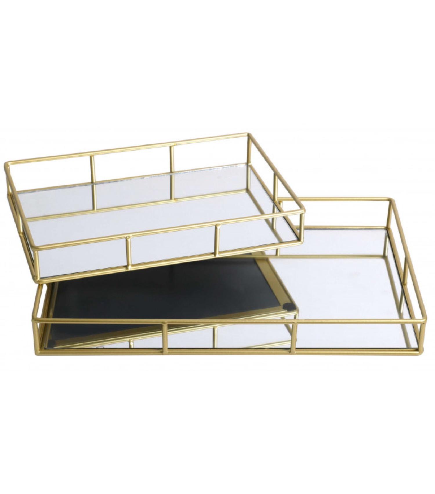 Set de 2 plateaux en métal doré et miroir rectangulaires 40x25x5cm