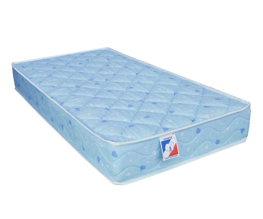 Matelas Bébé 100% Coton Mousse FERME Bleu 90x190