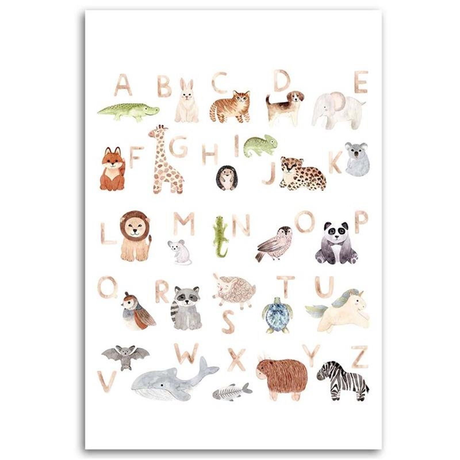 Tableau enfant alphabet with pets multicolore 70x100