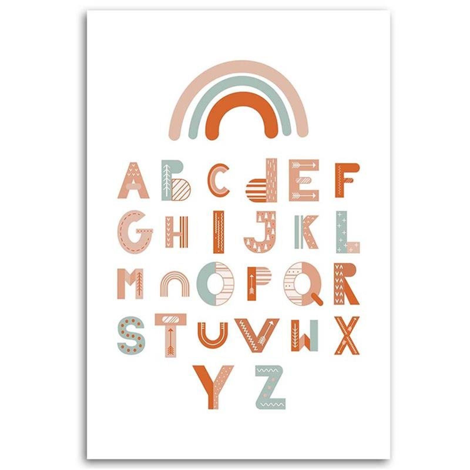 Tableau enfant alphabet multicolore 80x120