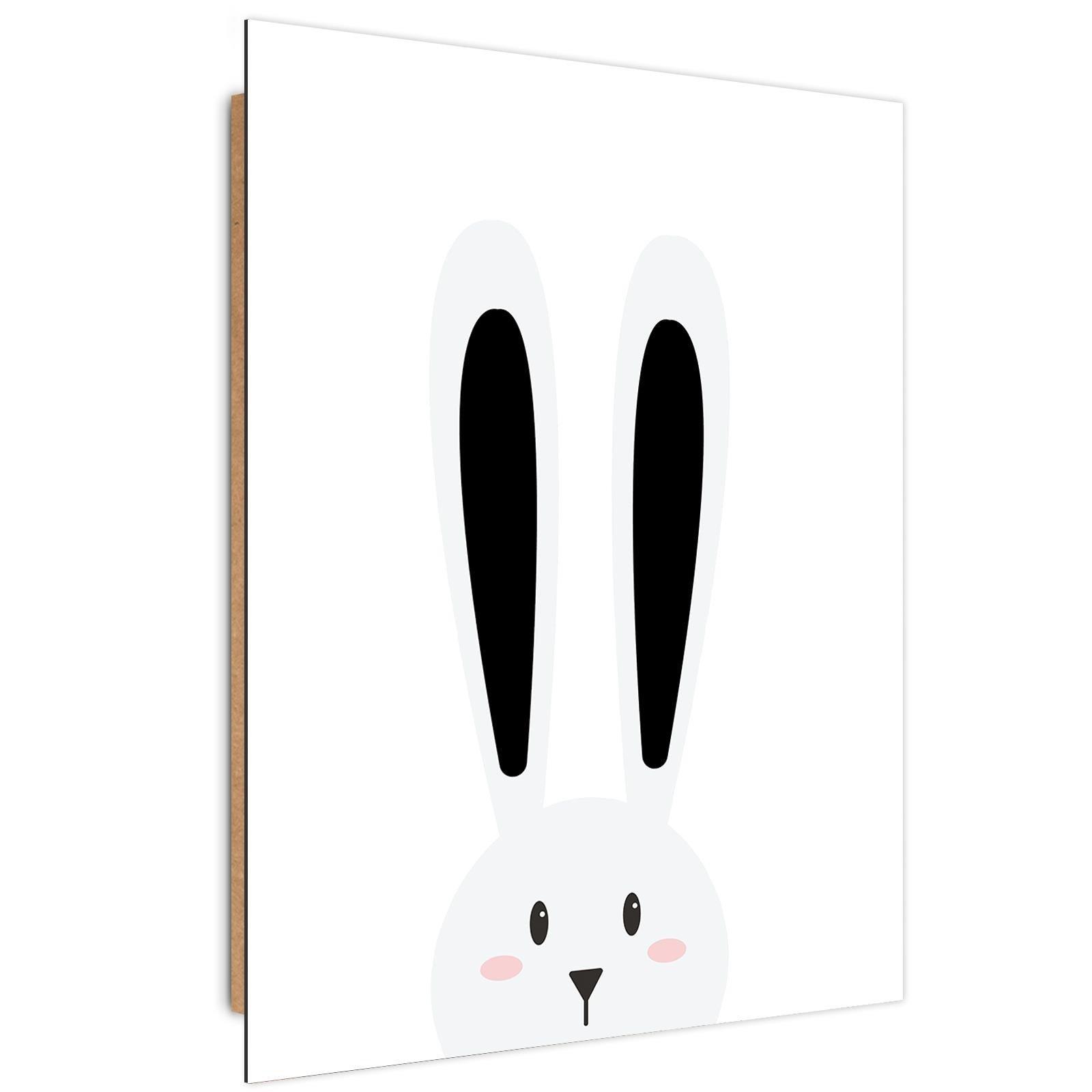 Tableau enfant bois rabbit ears noir et blanc 40x60