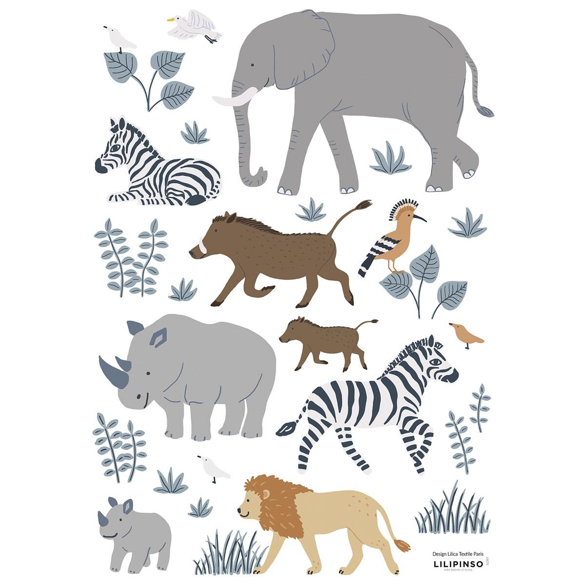 Planche de stickers animaux de la jungle multicolore