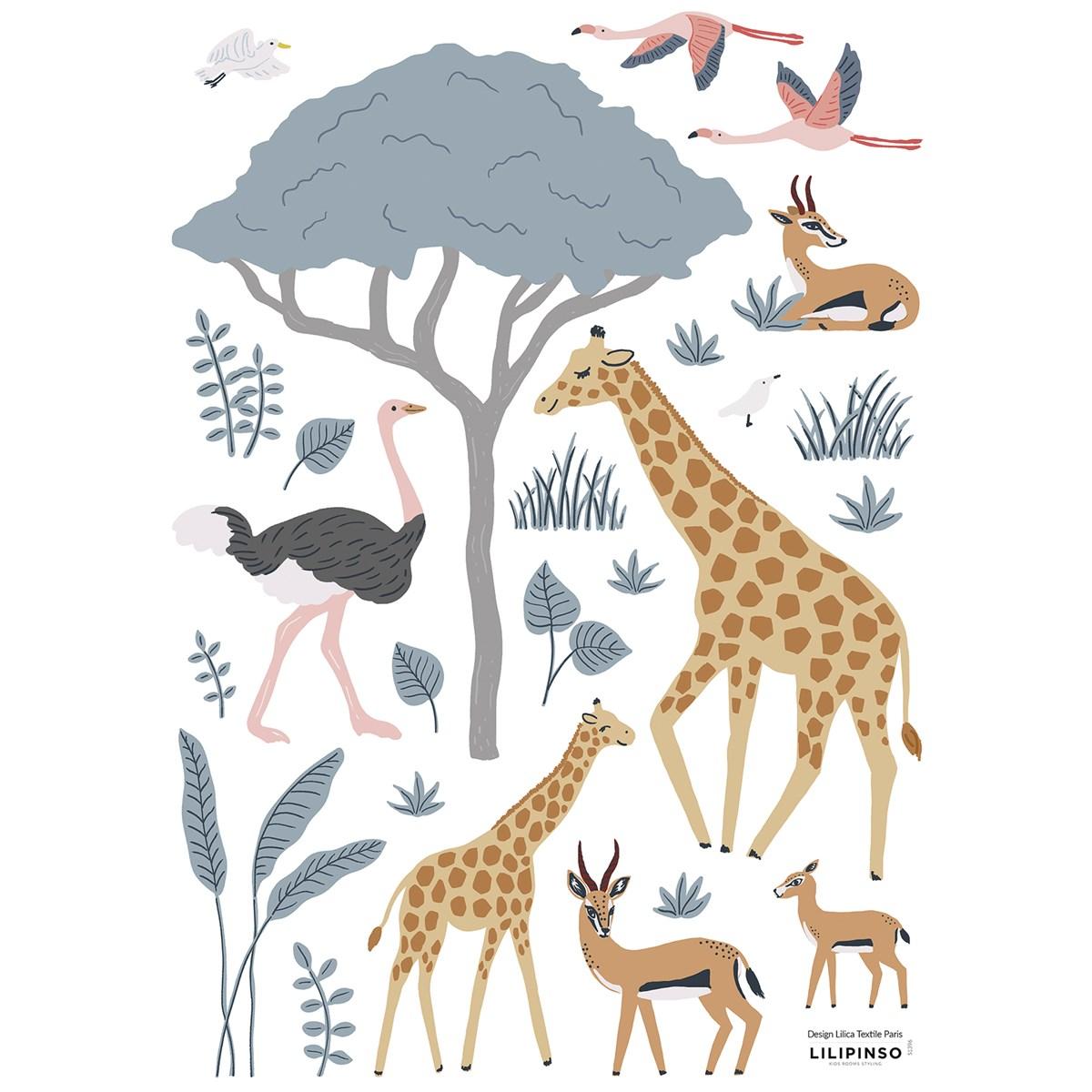 Planche de stickers animaux sauvages multicolore