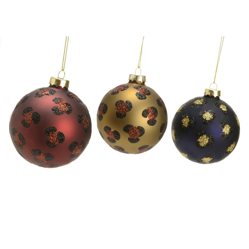 Boules de Noël panthère - Lot de 3