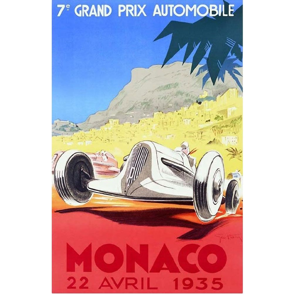 Affiche rectangulaire Monaco 1935 50x70cm