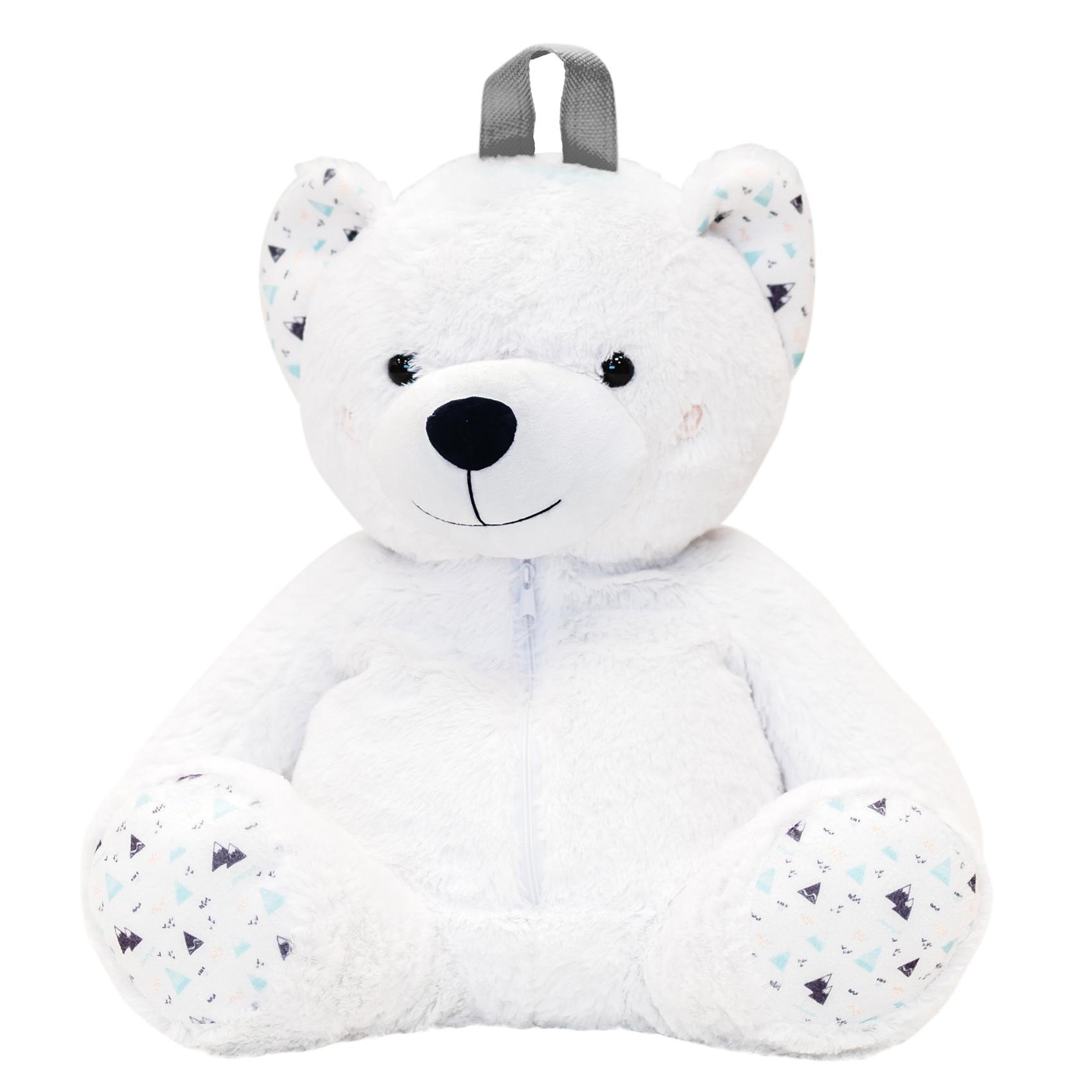 Sac à dos et range pyjama enfant ourson Blanc/Aqua 40cm