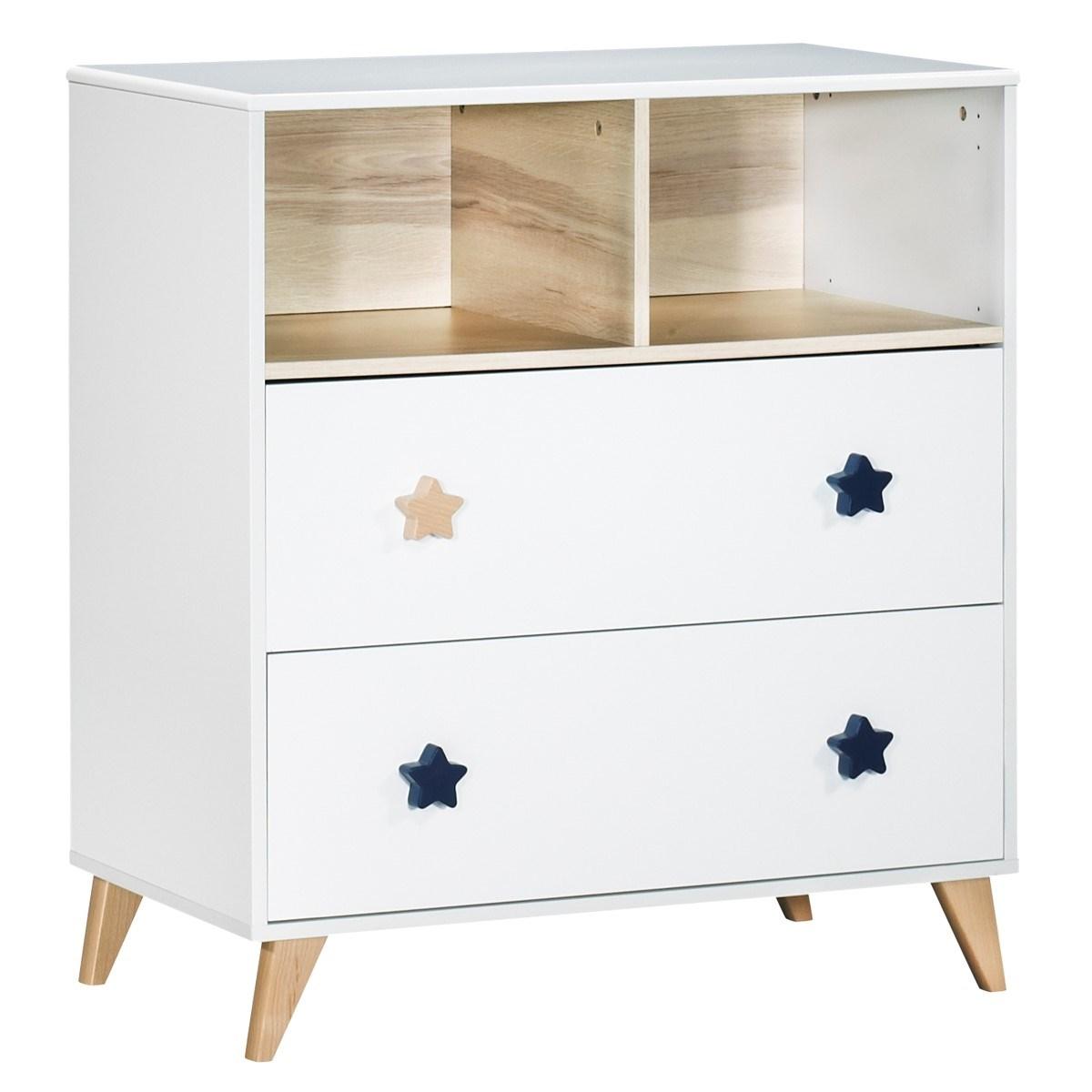 Commode 2 tiroirs 2 niches en bois blanc