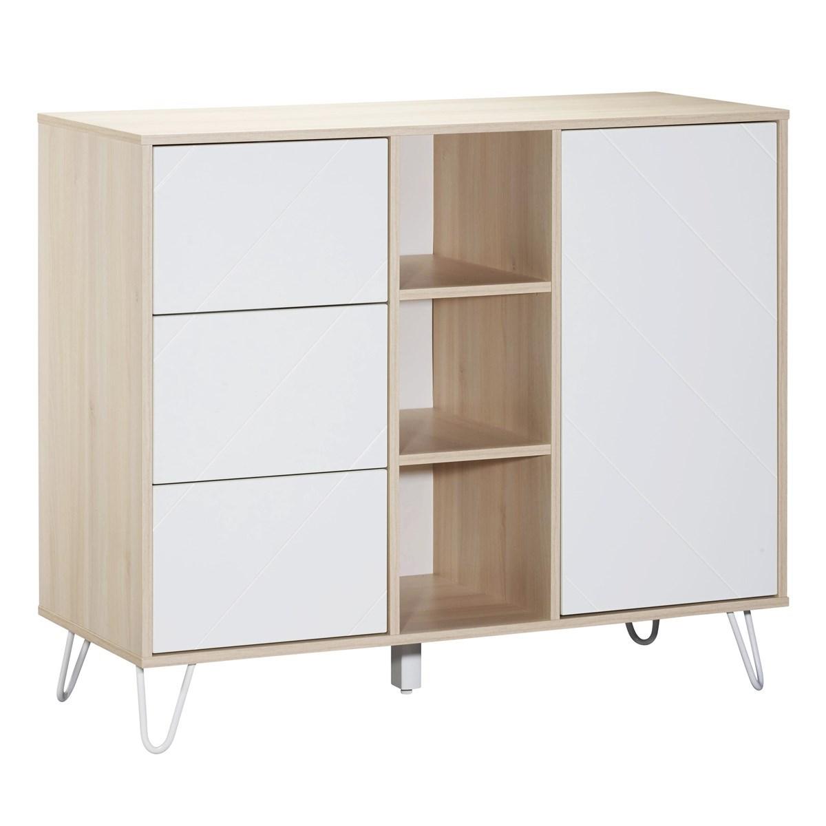 Commode 1 porte 3 tiroirs et 3 niches en mdf blanc