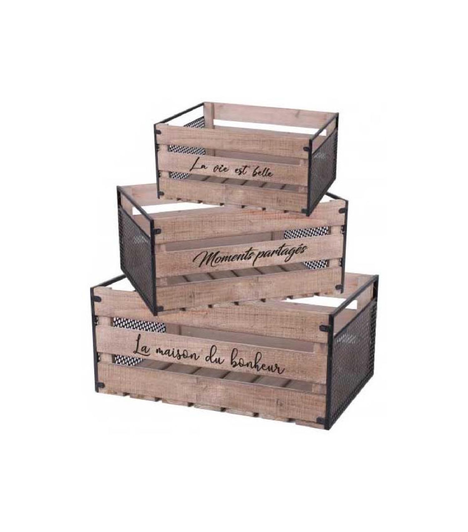Set de 3 caisses en bois et métal avec messages
