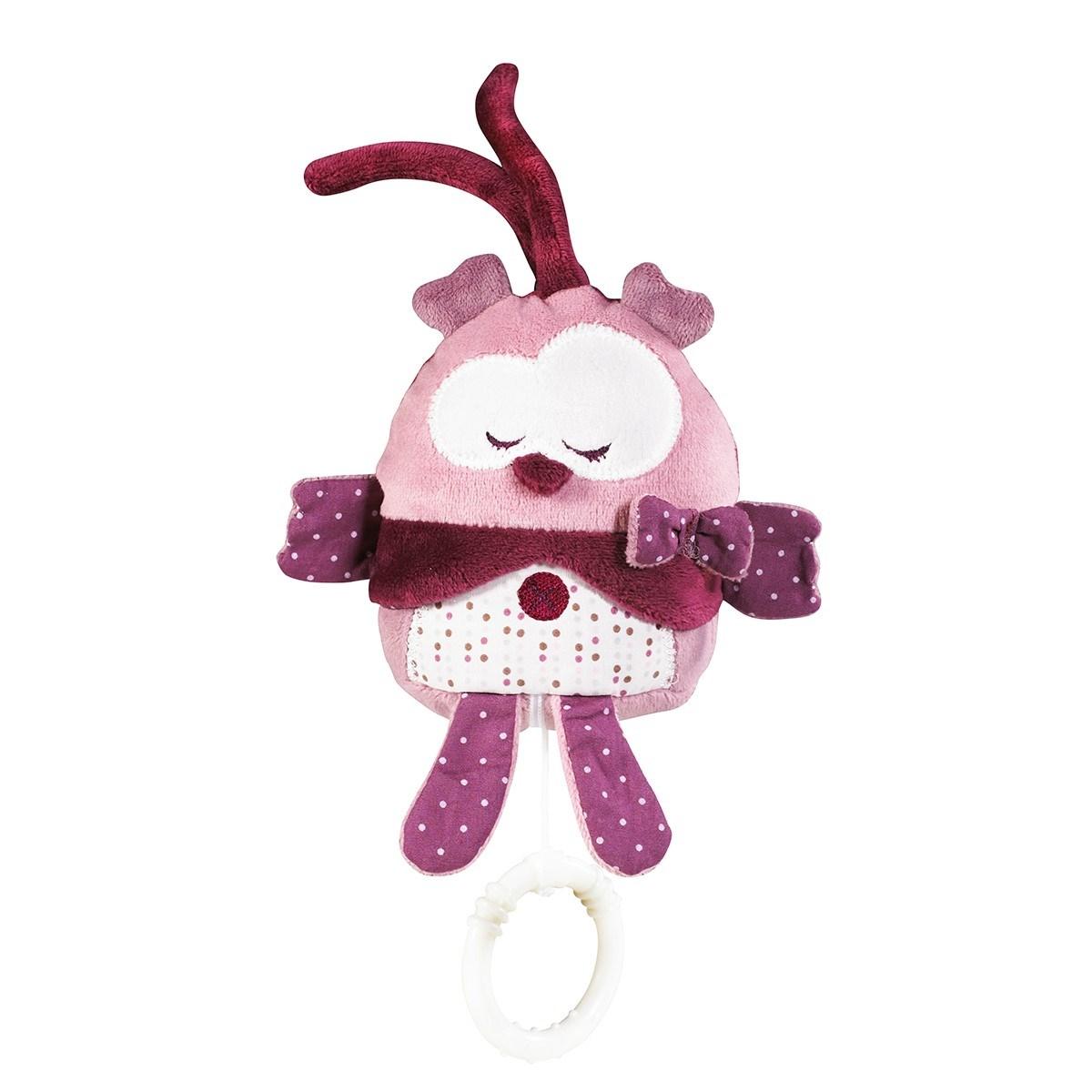 Peluche mini musical en velours rose