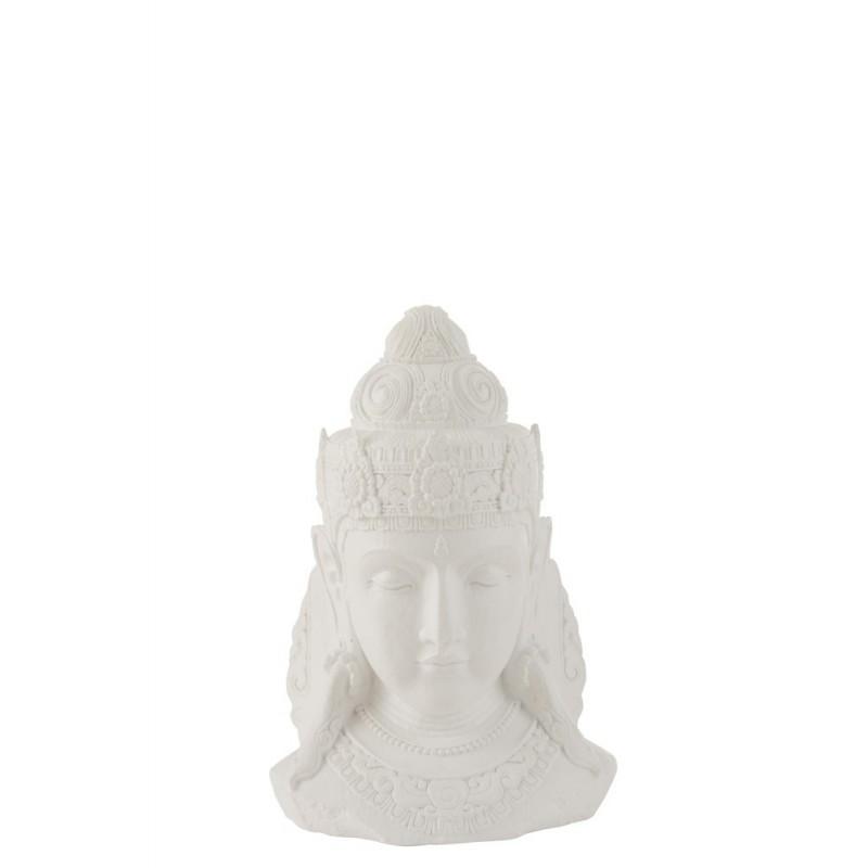Tête de Bouddha magnésie blanc H43cm