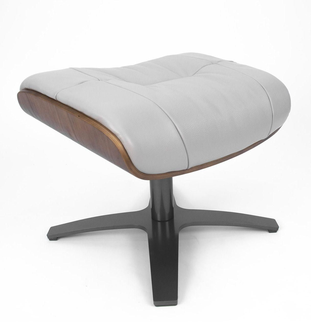 Repose-pieds de relaxation cuir gris et chêne naturel