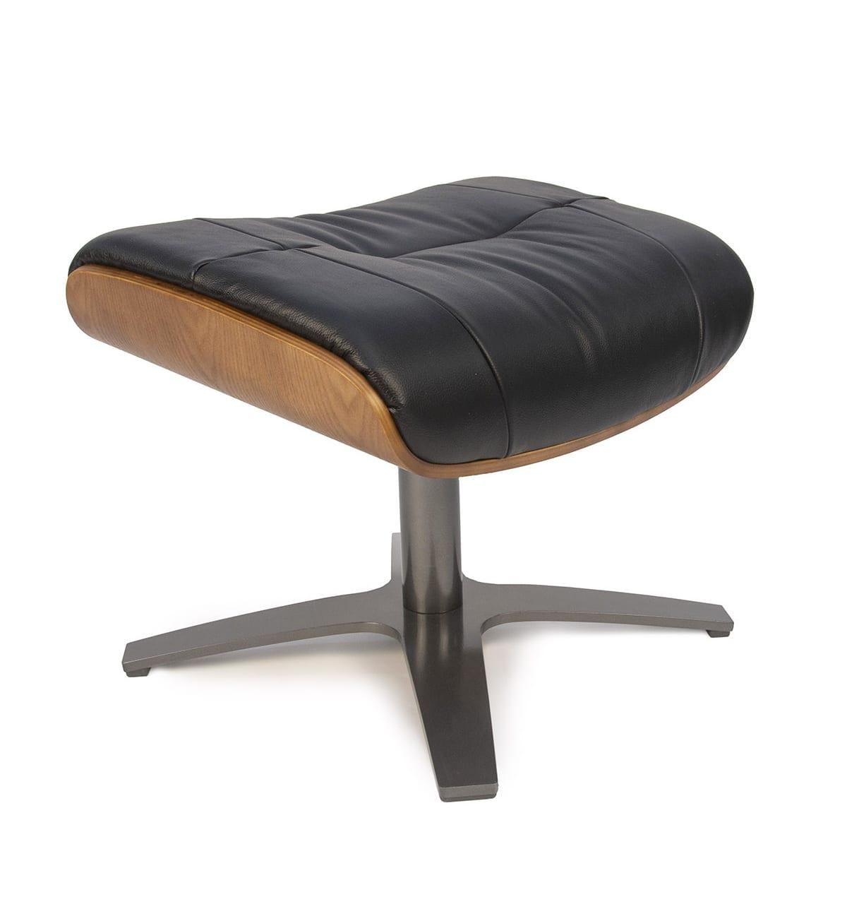 Repose-pieds de relaxation cuir noir et chêne naturel
