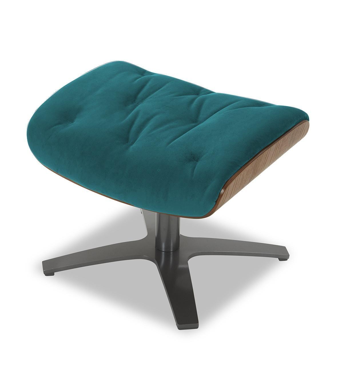 Repose-pieds de relaxation velours bleu-vert et chêne naturel