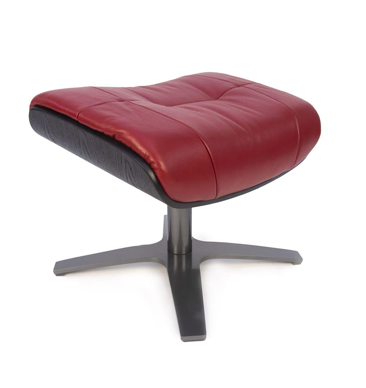 Repose-pieds de relaxation cuir rouge et chêne noir