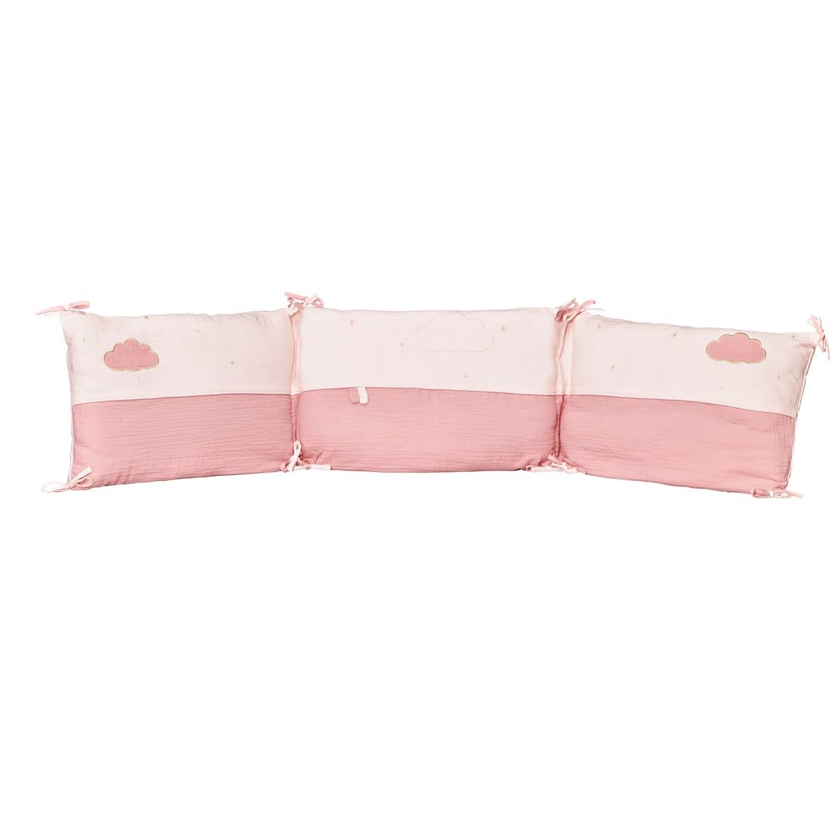 Tour de lit bébé en coton rose