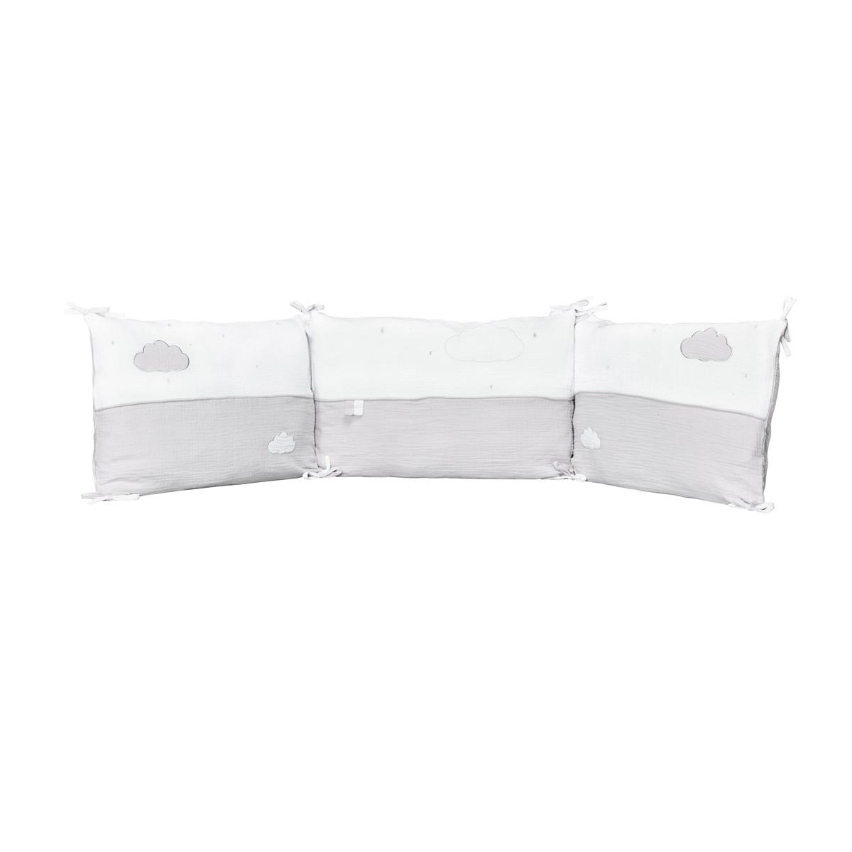Tour de lit bébé en coton gris