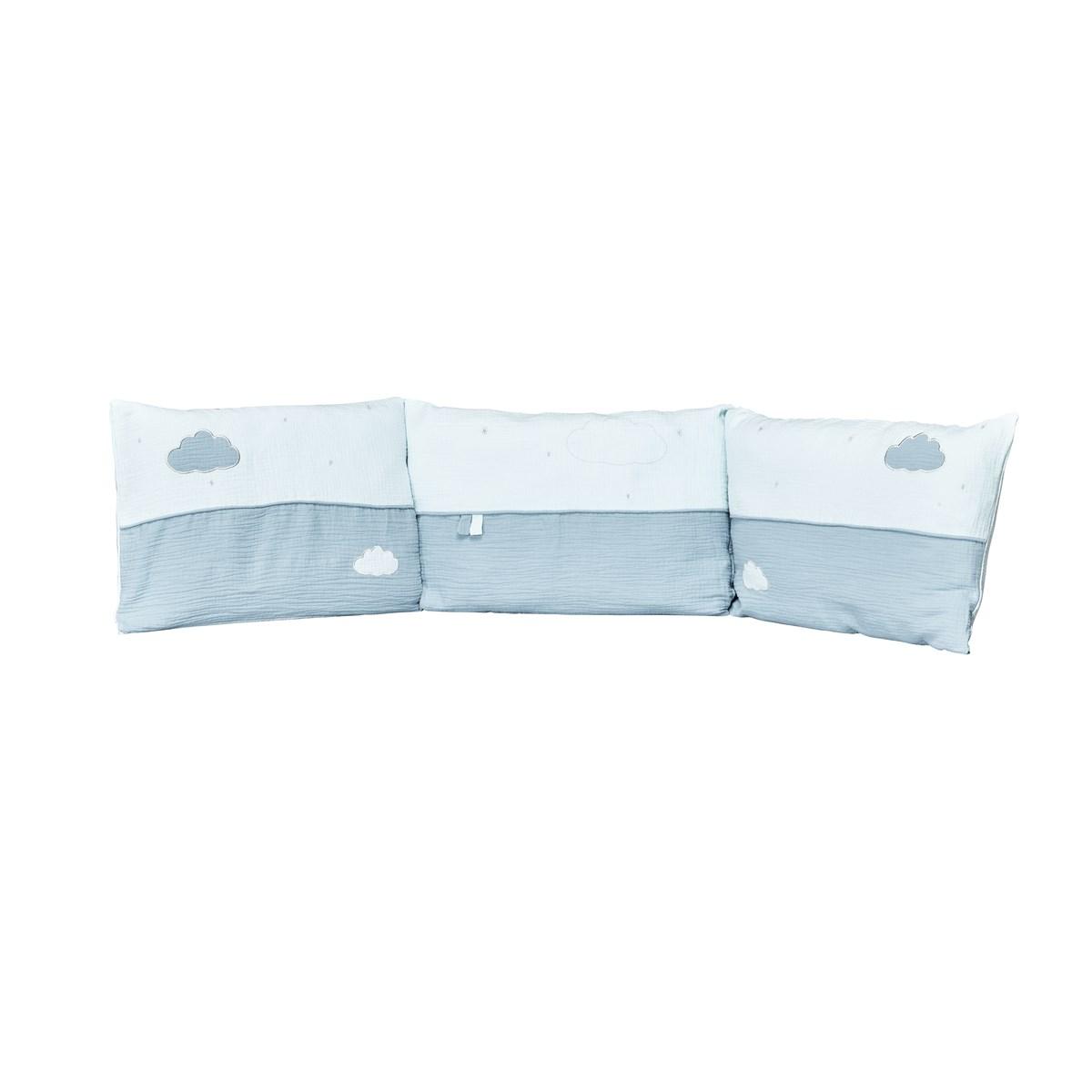 Tour de lit bébé en coton bleu
