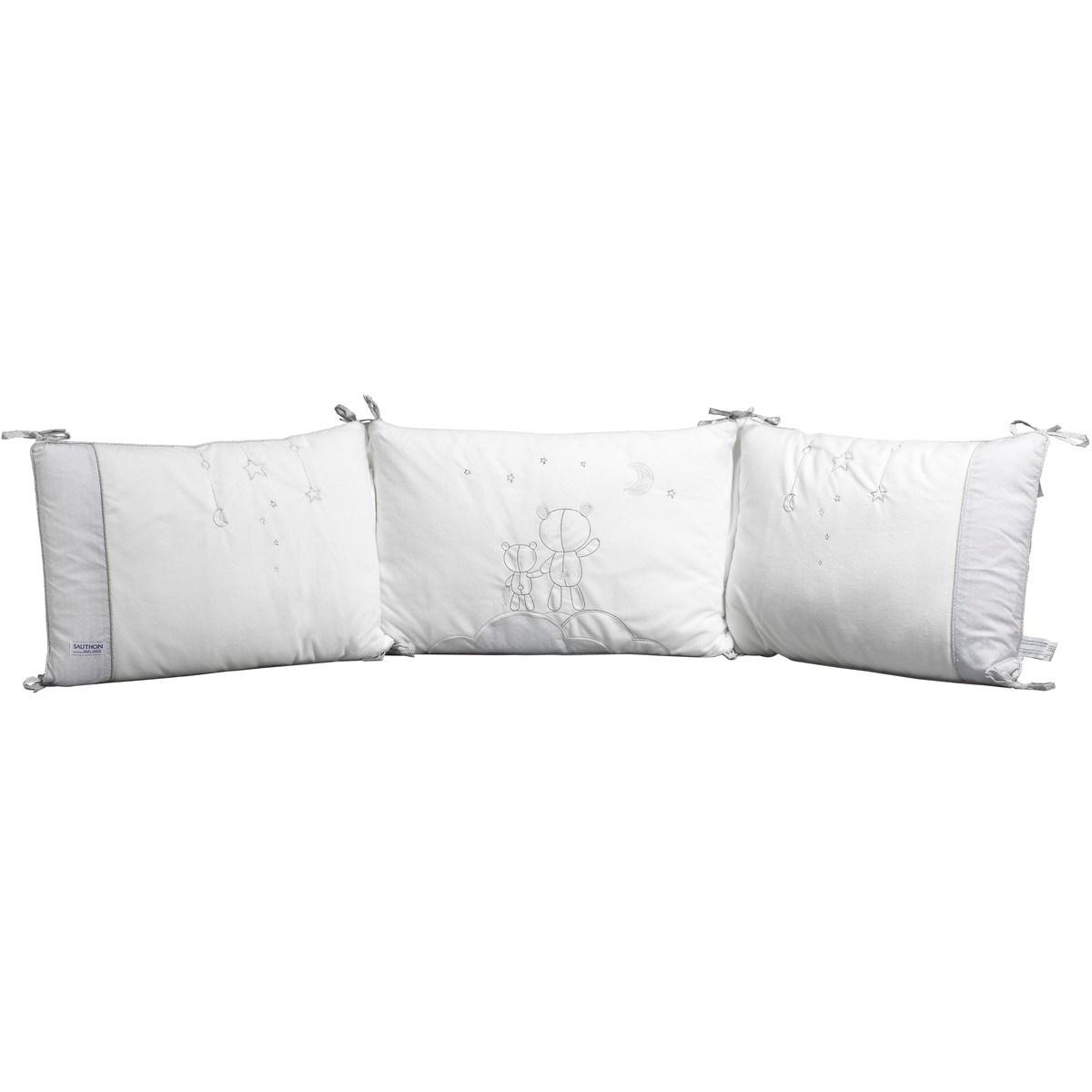 Tour de lit déhoussable en coton polyurethane blanc