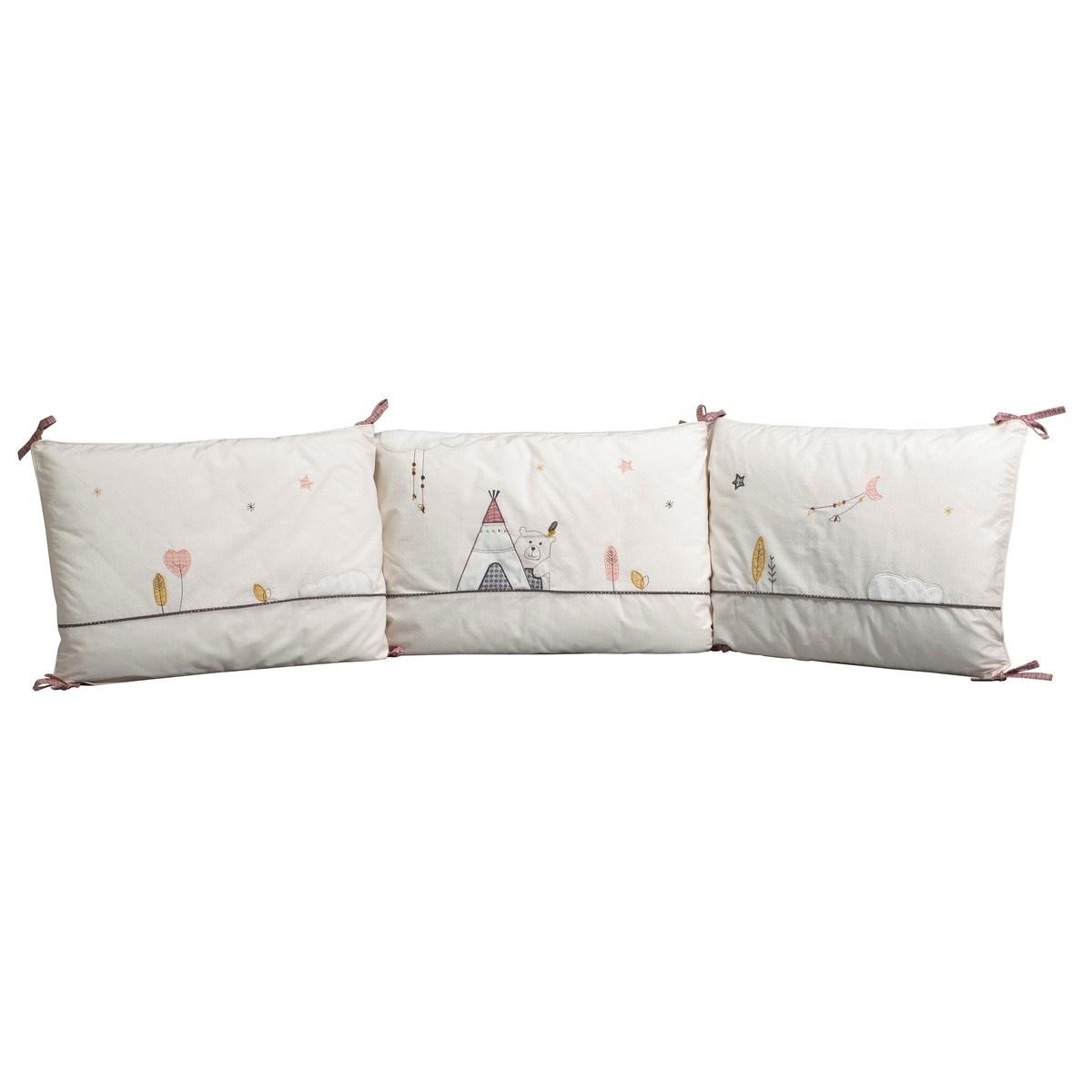 Tour de lit bébé déhoussable en coton polyurethane beige