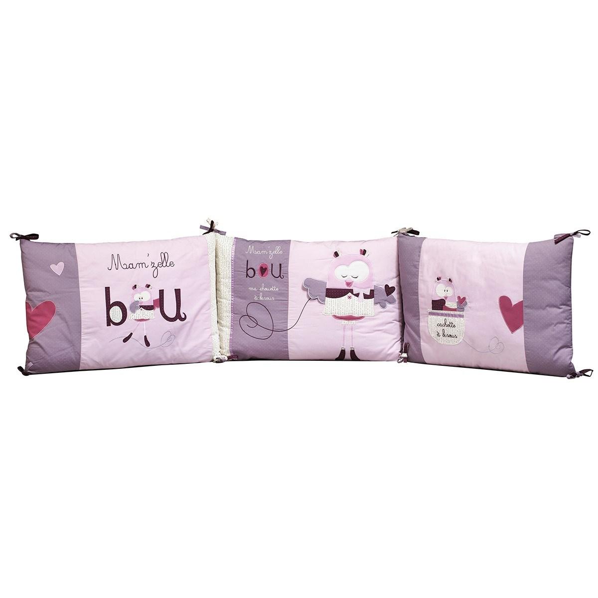 Tour de lit bébé déhoussable en coton rose