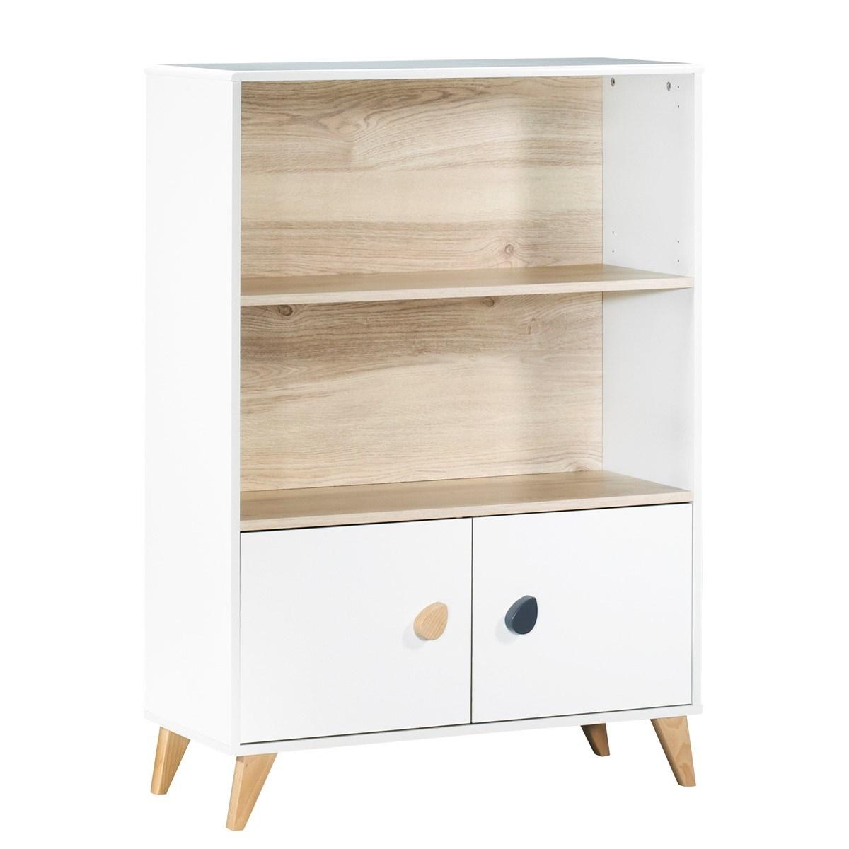 Bibliothèque meuble boutons gouttes en bois blanc