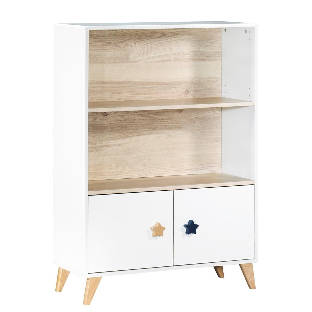 Bibliothèque meuble boutons étoiles en bois blanc