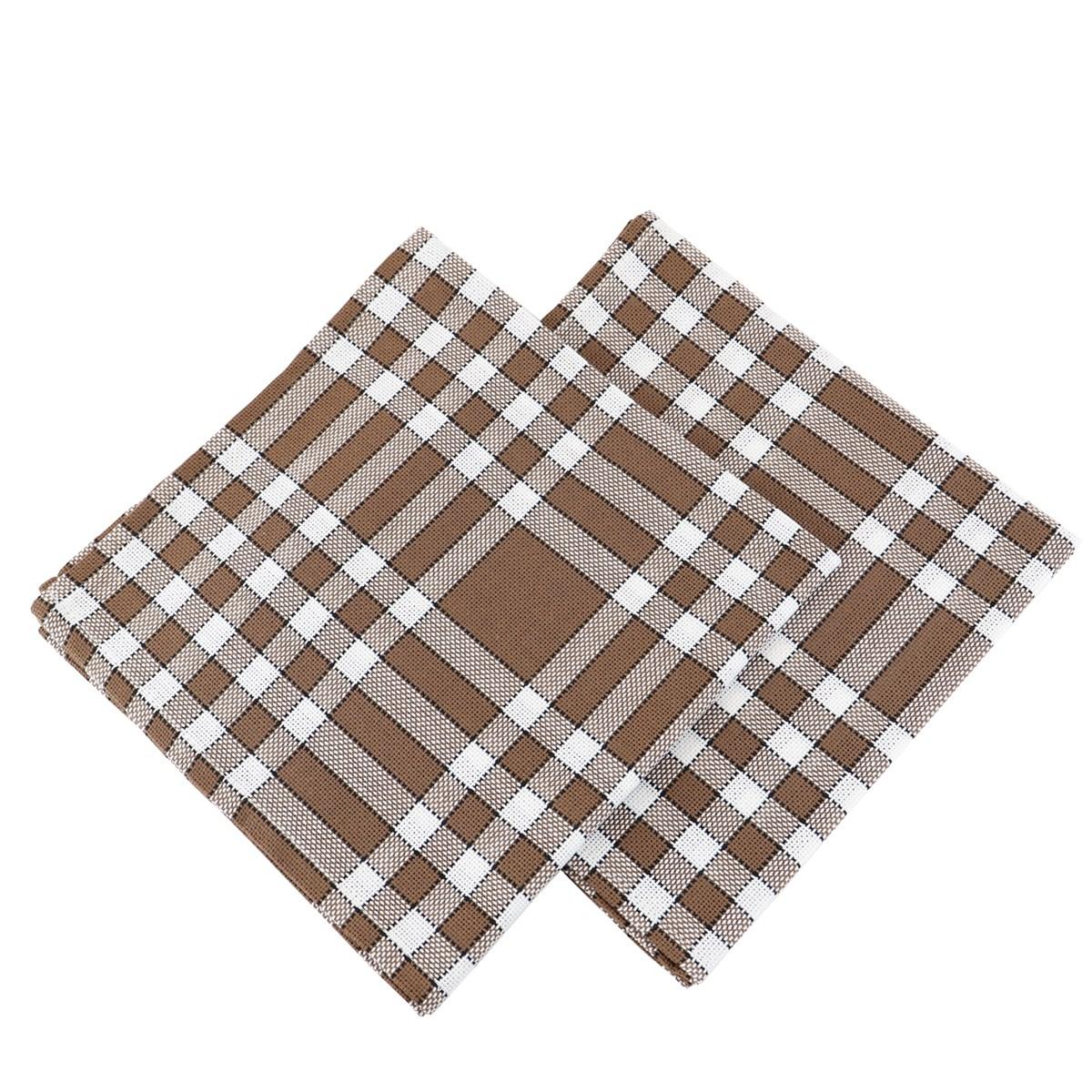 Lot de 2 serviettes rouge en Coton Marron