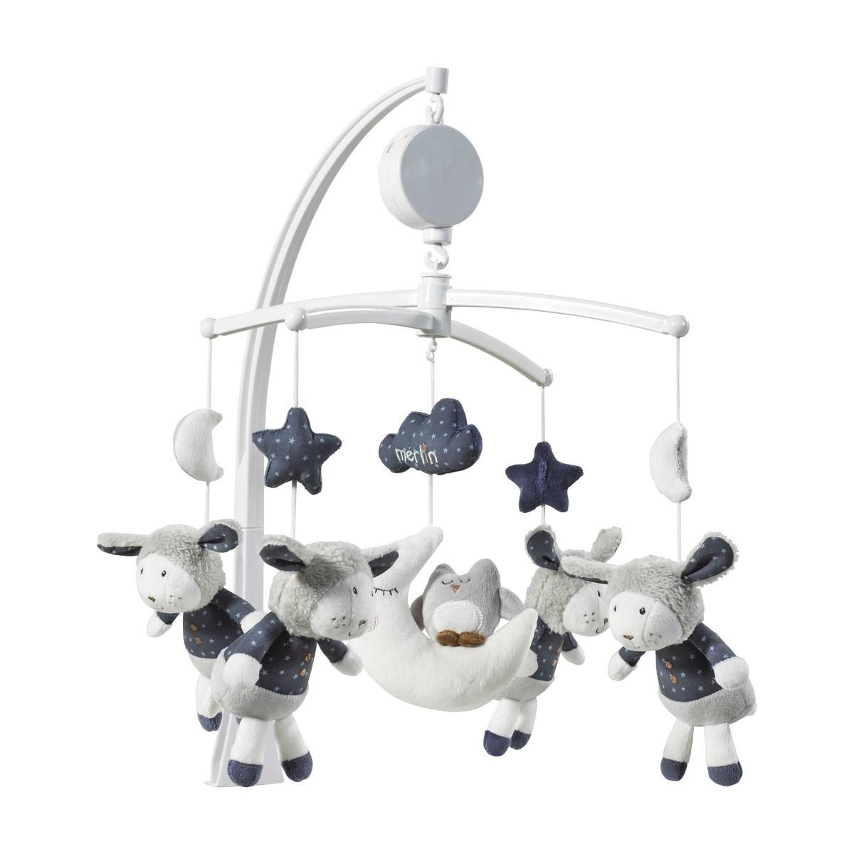 Mobile musical bébé mouton en coton blanc