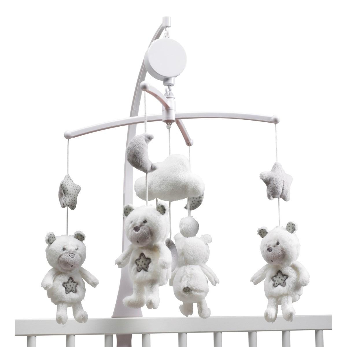 Mobile musical bébé ours en polyester blanc