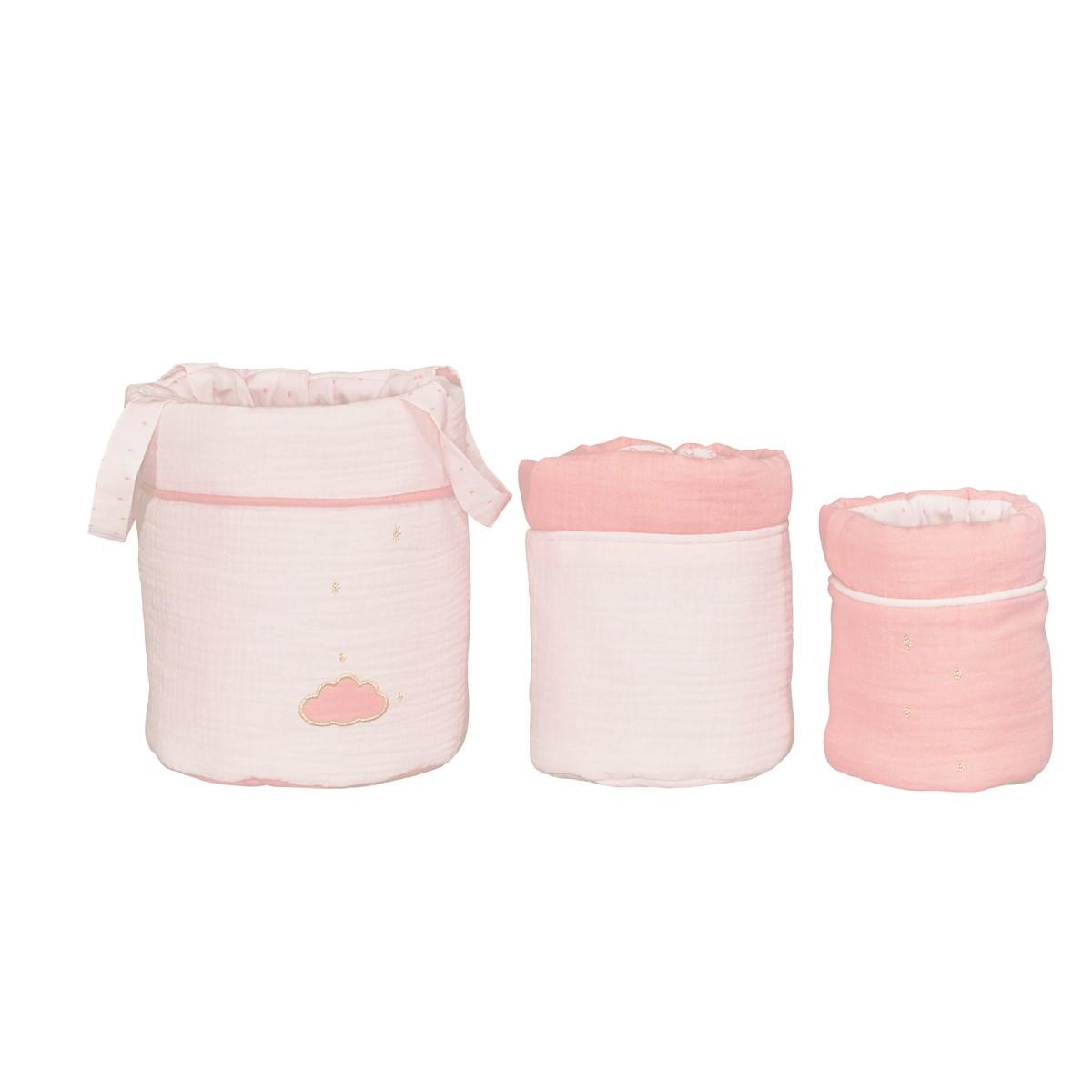 Lot de 3 paniers de rangement en coton rose