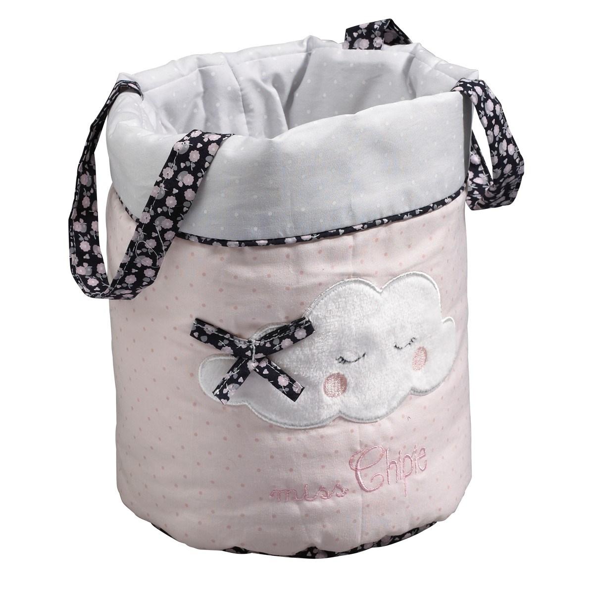 Panières gigognes en tissu en coton polyurethane rose