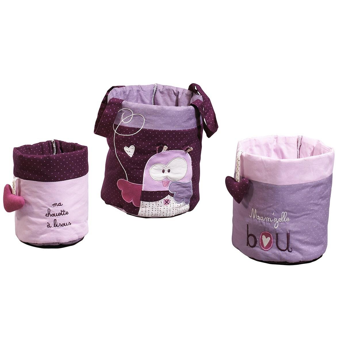 Lot de 3 corbeilles gigogne en tissu en coton rose