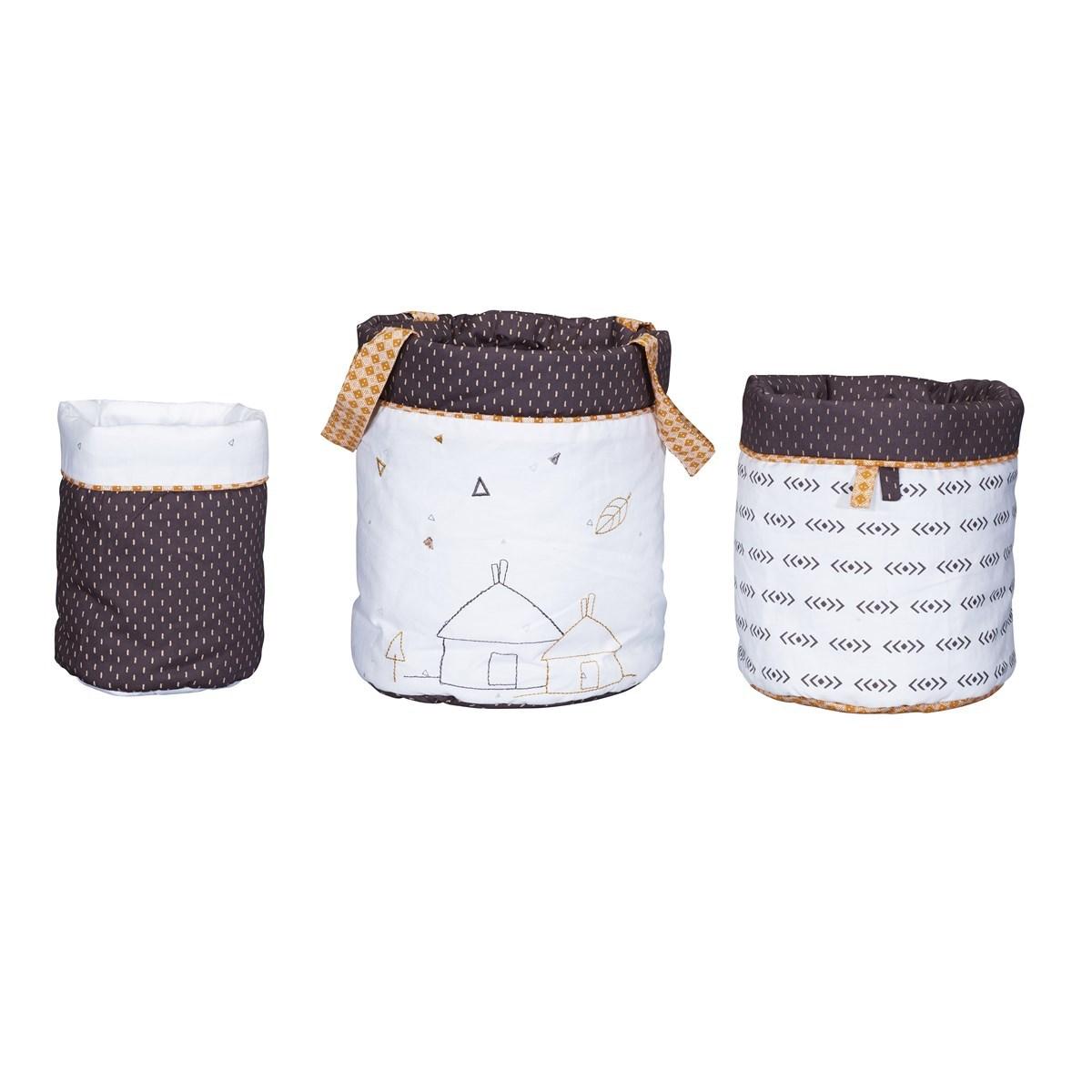 Panière gigognes en coton blanc