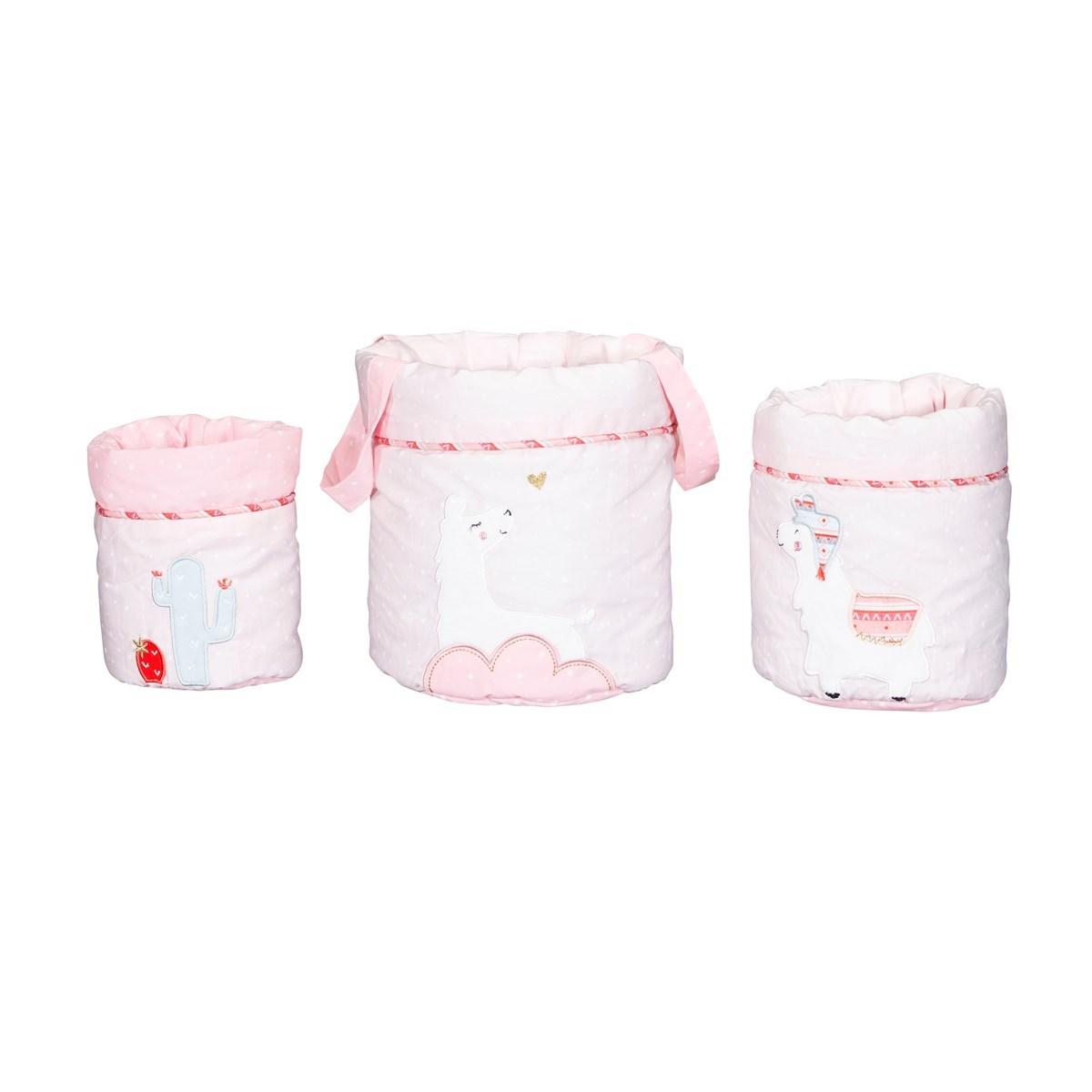 Panière gigognes en coton rose