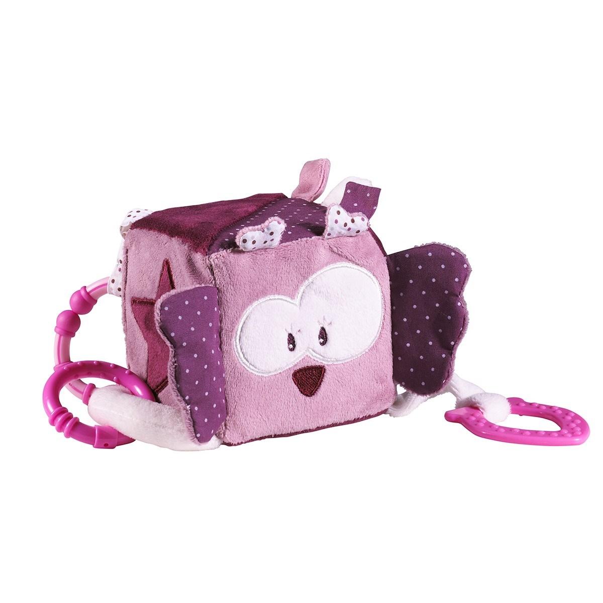 Cube d'activités bébé en velours rose
