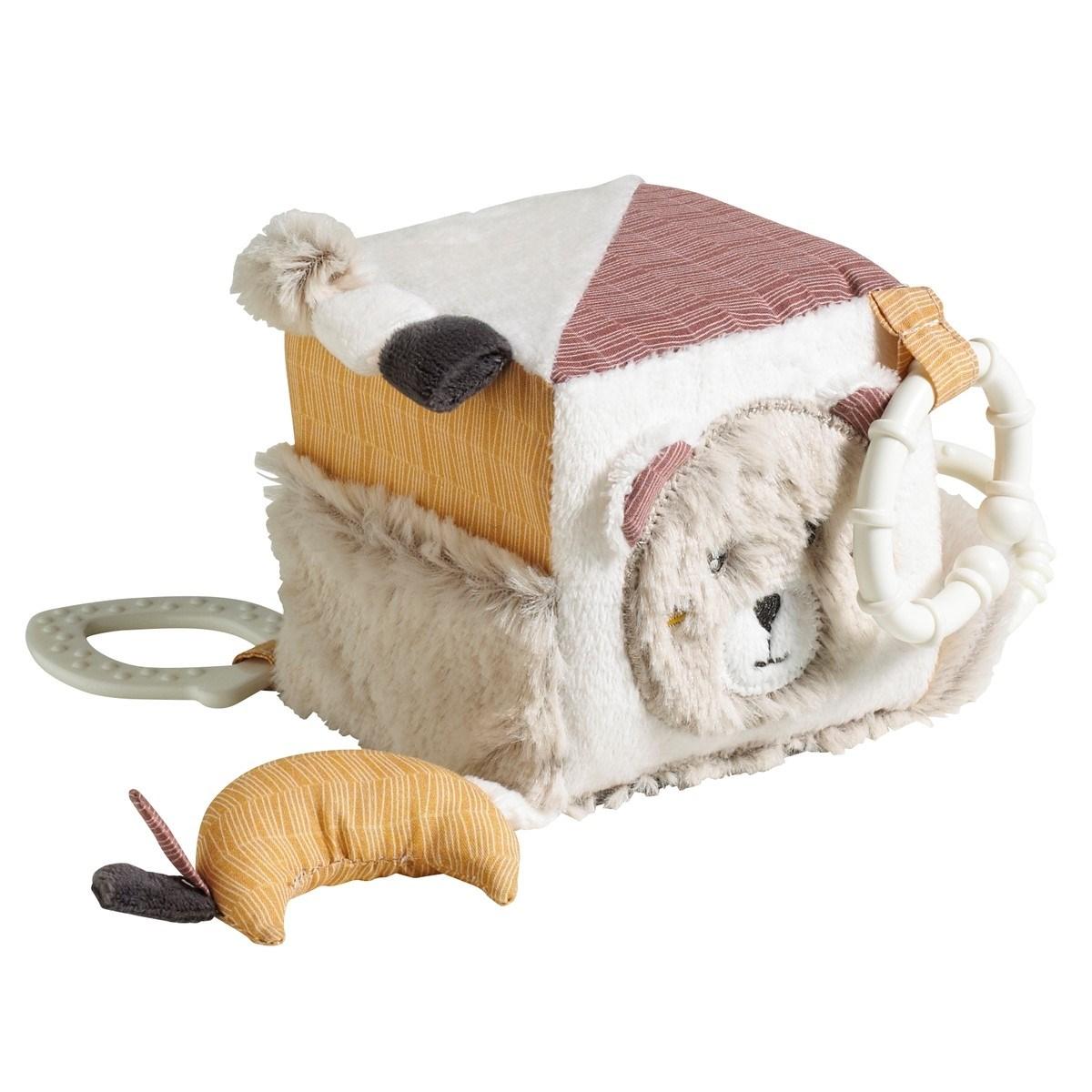 Cube d'activité bébé en velours beige