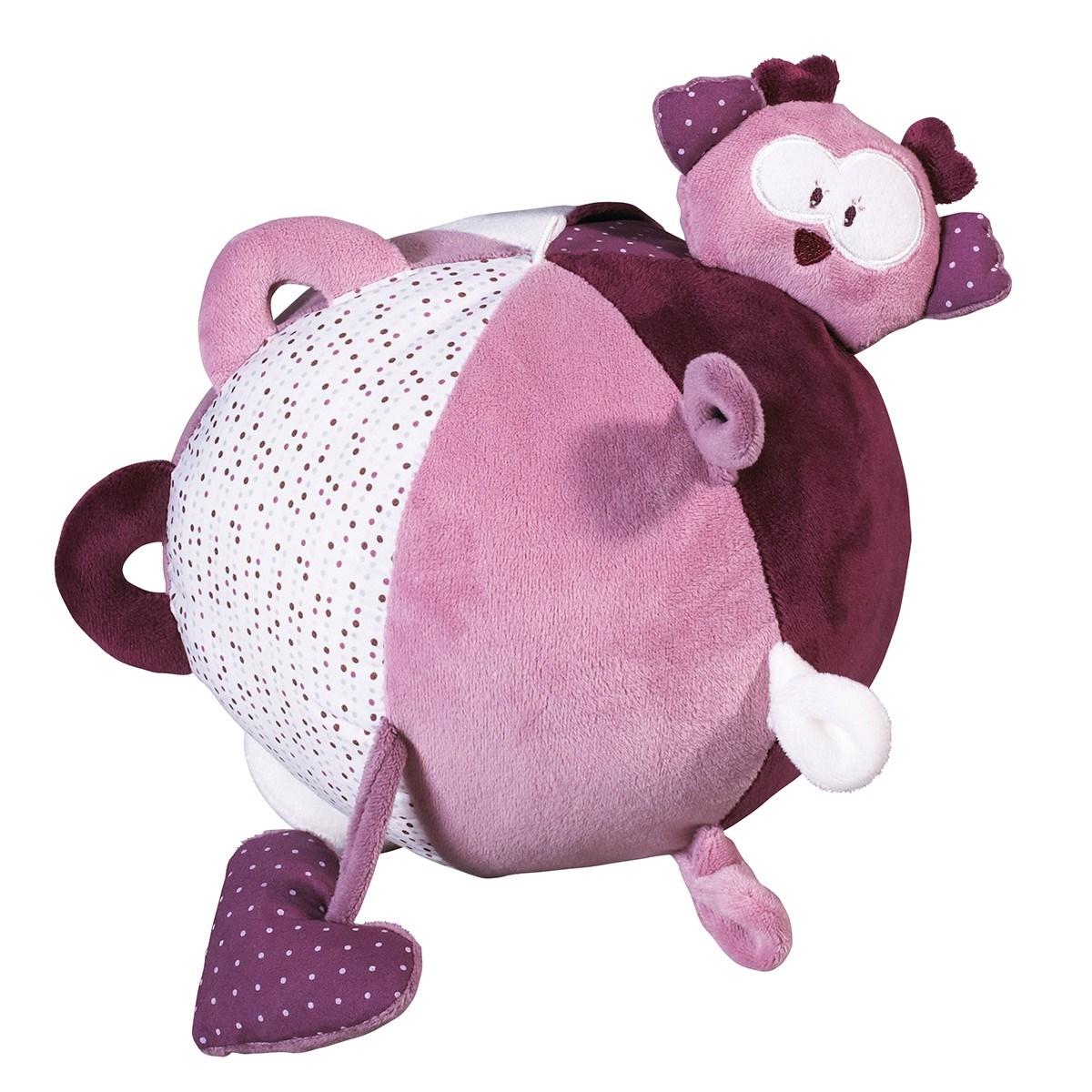 Balle d'activité bébé en velours rose