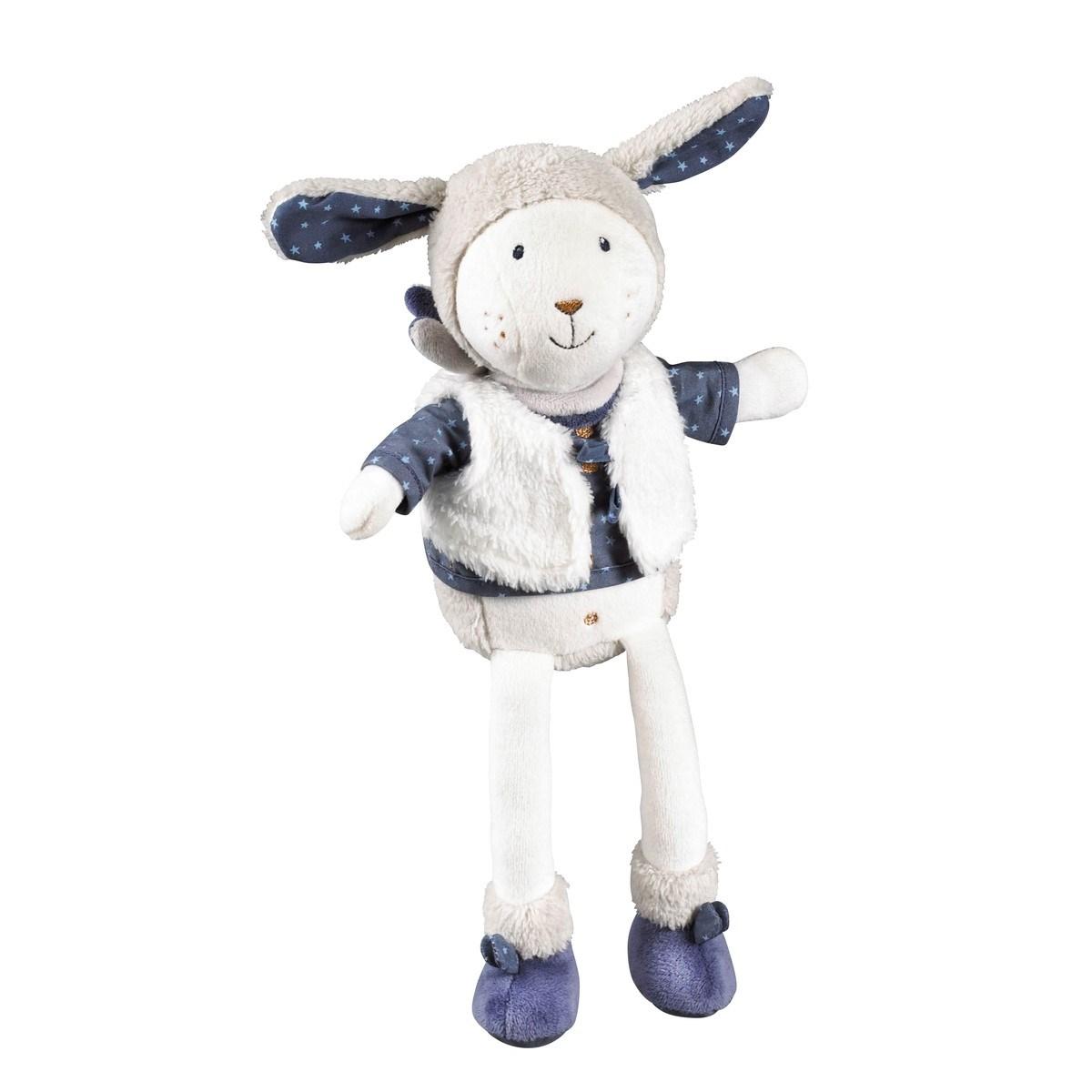 Doudou mouton modèle moyen en velours blanc