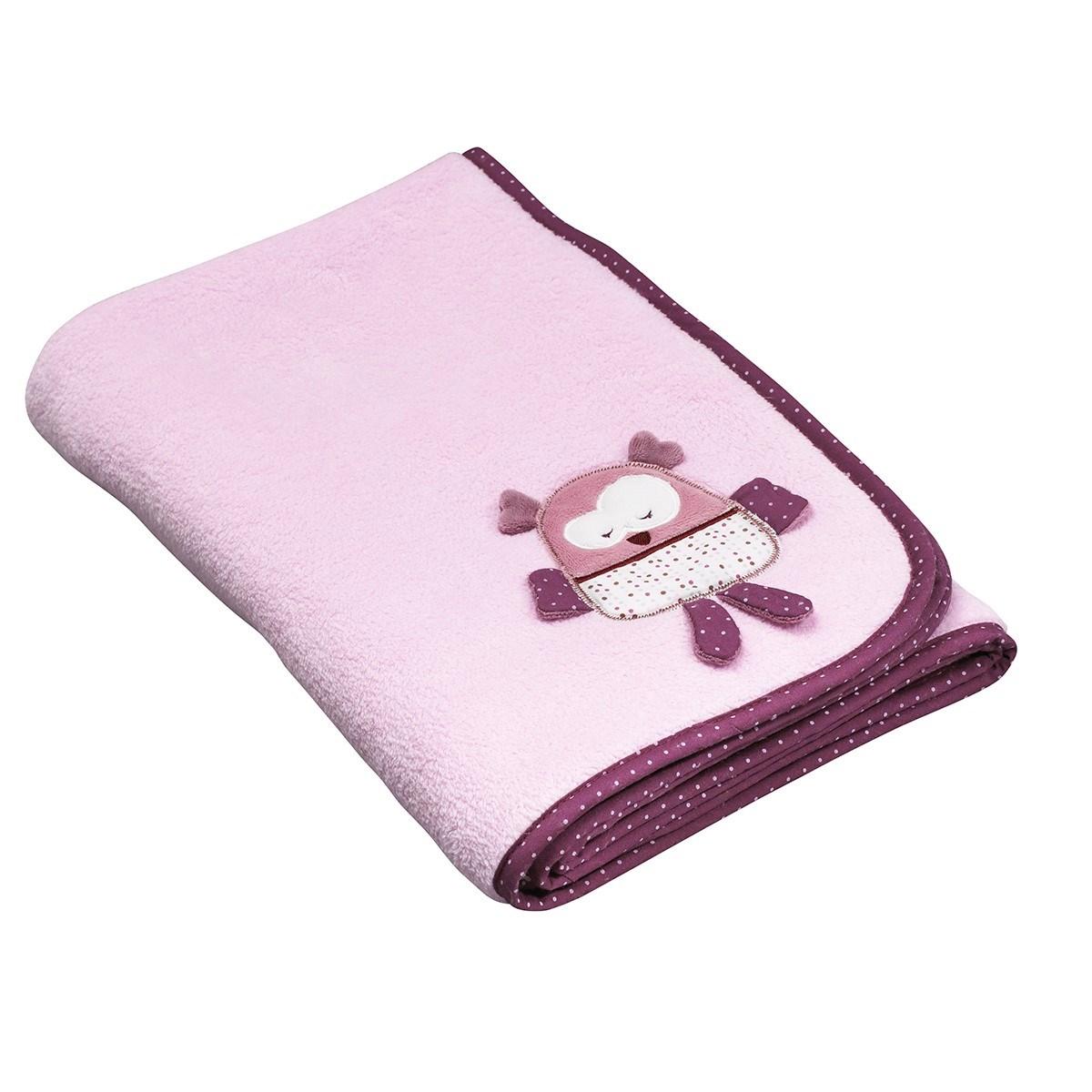 Couverture bébé 75x100 en velours rose